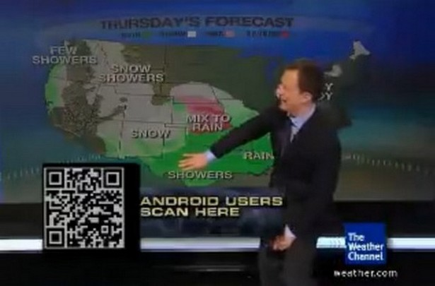 Qr code à la télévision sur Weather Channel